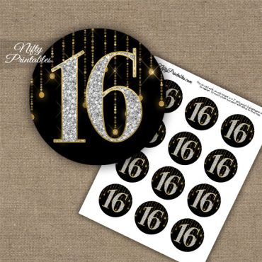 16th Birthday Anniversary Cupcake Toppers - Diamonds Black Gold