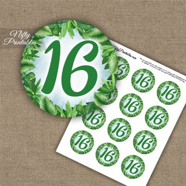 16th Birthday Anniversary Cupcake Toppers - Greenery