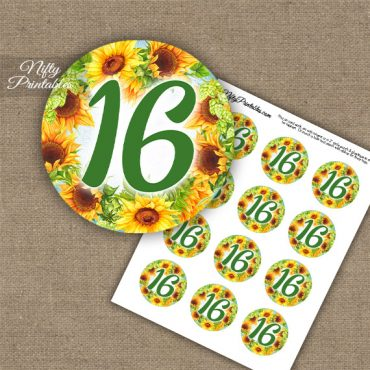 16th Birthday Anniversary Cupcake Toppers - Sunflowers