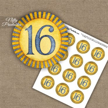 16th Birthday Anniversary Cupcake Toppers - Sunshine Illustrated