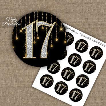 17th Birthday Anniversary Cupcake Toppers - Diamonds Black Gold