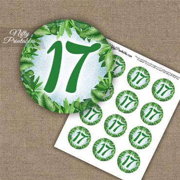 17th Birthday Anniversary Cupcake Toppers - Greenery