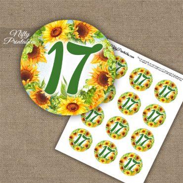 17th Birthday Anniversary Cupcake Toppers - Sunflowers