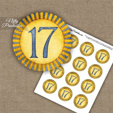 17th Birthday Anniversary Cupcake Toppers - Sunshine Illustrated