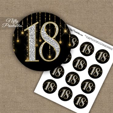 18th Birthday Anniversary Cupcake Toppers - Diamonds Black Gold