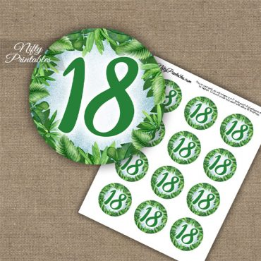 18th Birthday Anniversary Cupcake Toppers - Greenery