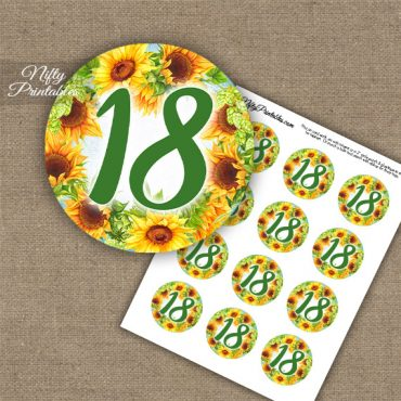 18th Birthday Anniversary Cupcake Toppers - Sunflowers