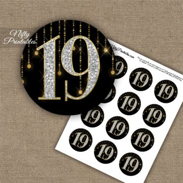 19th Birthday Anniversary Cupcake Toppers - Diamonds Black Gold