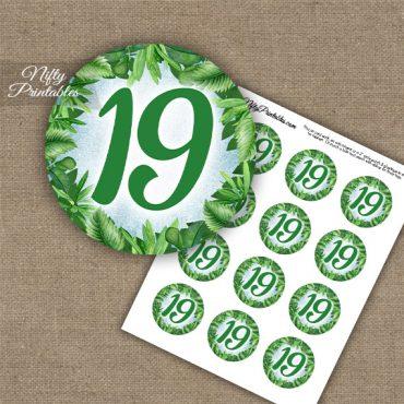 19th Birthday Anniversary Cupcake Toppers - Greenery