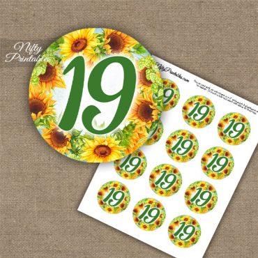 19th Birthday Anniversary Cupcake Toppers - Sunflowers