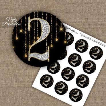 2nd Birthday Anniversary Cupcake Toppers - Diamonds Black Gold