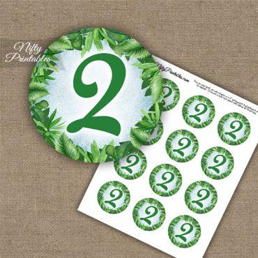 2nd Birthday Anniversary Cupcake Toppers - Greenery