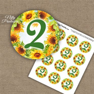 2nd Birthday Anniversary Cupcake Toppers - Sunflowers
