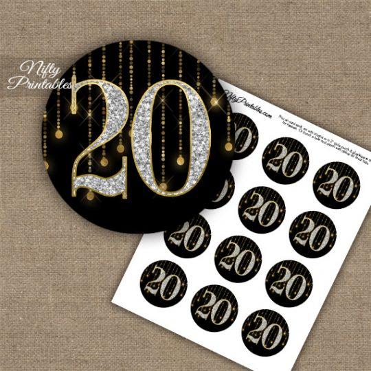 20th Birthday Anniversary Cupcake Toppers - Diamonds Black Gold