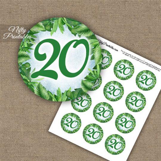 20th Birthday Anniversary Cupcake Toppers - Greenery