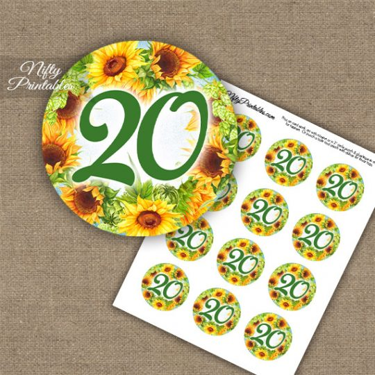 20th Birthday Anniversary Cupcake Toppers - Sunflowers