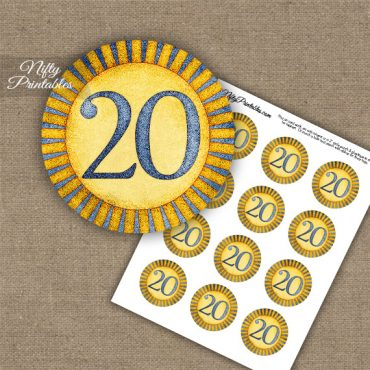 20th Birthday Anniversary Cupcake Toppers - Sunshine Illustrated