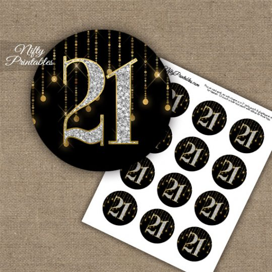 21st Birthday Anniversary Cupcake Toppers - Diamonds Black Gold