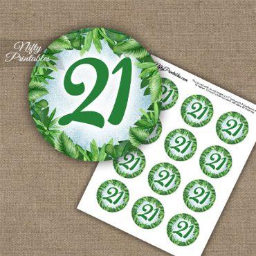 21st Birthday Anniversary Cupcake Toppers - Greenery