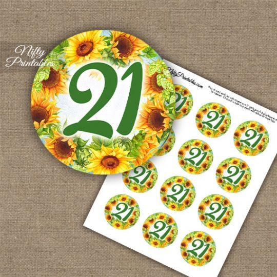 21st Birthday Anniversary Cupcake Toppers - Sunflowers
