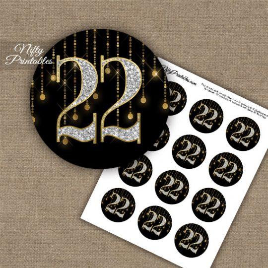 22nd Birthday Anniversary Cupcake Toppers - Diamonds Black Gold