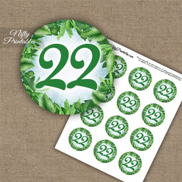 22nd Birthday Anniversary Cupcake Toppers - Greenery