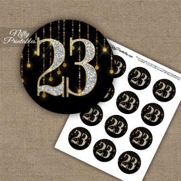 23rd Birthday Anniversary Cupcake Toppers - Diamonds Black Gold