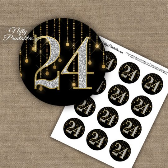 24th Birthday Anniversary Cupcake Toppers - Diamonds Black Gold