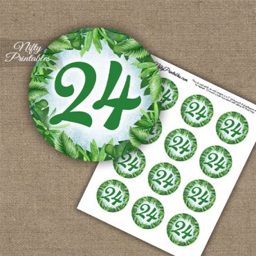 24th Birthday Anniversary Cupcake Toppers - Greenery