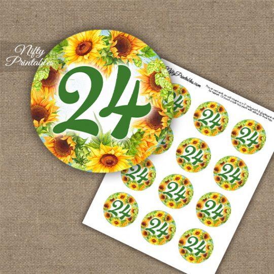24th Birthday Anniversary Cupcake Toppers - Sunflowers