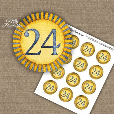 24th Birthday Anniversary Cupcake Toppers - Sunshine Illustrated