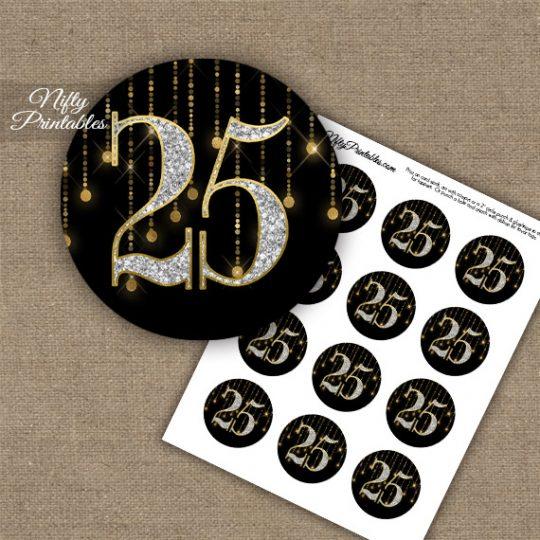25th Birthday Anniversary Cupcake Toppers - Diamonds Black Gold