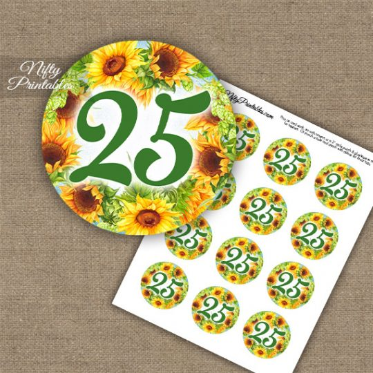 25th Birthday Anniversary Cupcake Toppers - Sunflowers