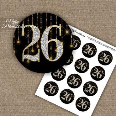 26th Birthday Anniversary Cupcake Toppers - Diamonds Black Gold
