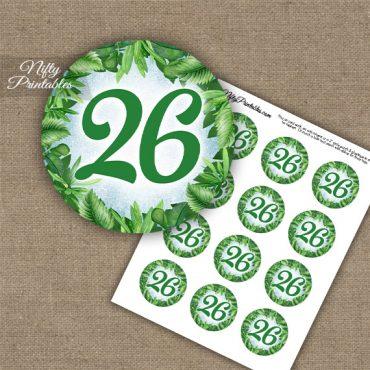 26th Birthday Anniversary Cupcake Toppers - Greenery