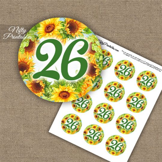 26th Birthday Anniversary Cupcake Toppers - Sunflowers
