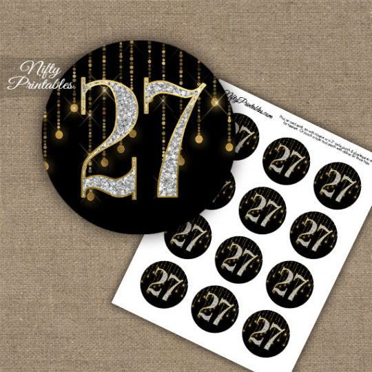 27th Birthday Anniversary Cupcake Toppers - Diamonds Black Gold