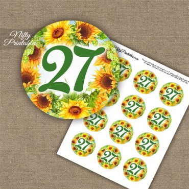27th Birthday Anniversary Cupcake Toppers - Sunflowers