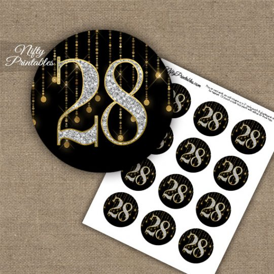 28th Birthday Anniversary Cupcake Toppers - Diamonds Black Gold