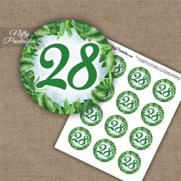 28th Birthday Anniversary Cupcake Toppers - Greenery