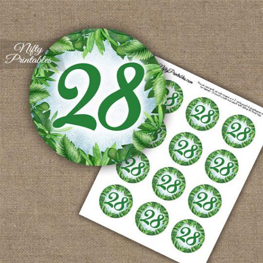 28th Birthday Anniversary Cupcake Toppers - Greenery