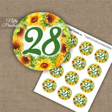 28th Birthday Anniversary Cupcake Toppers - Sunflowers