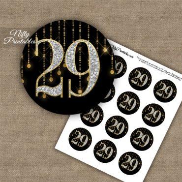 29th Birthday Anniversary Cupcake Toppers - Diamonds Black Gold