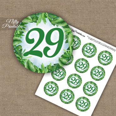 29th Birthday Anniversary Cupcake Toppers - Greenery