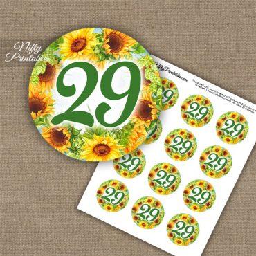 29th Birthday Anniversary Cupcake Toppers - Sunflowers