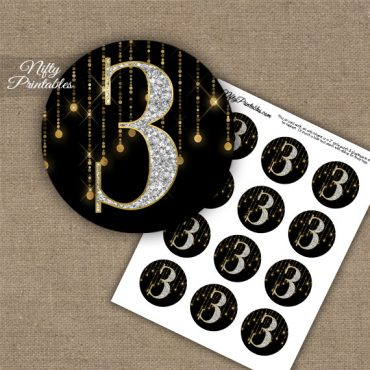 3rd Birthday Anniversary Cupcake Toppers - Diamonds Black Gold