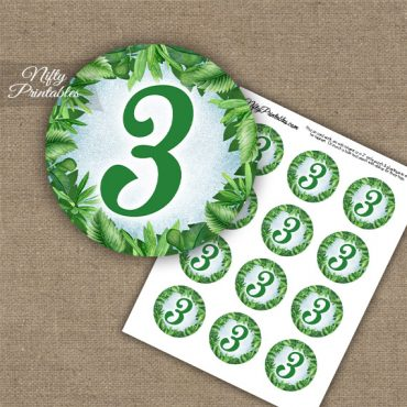3rd Birthday Anniversary Cupcake Toppers - Greenery