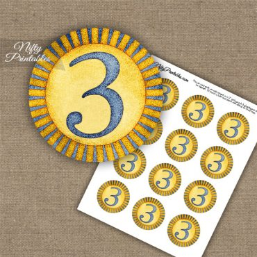 3rd Birthday Anniversary Cupcake Toppers - Sunshine Illustrated