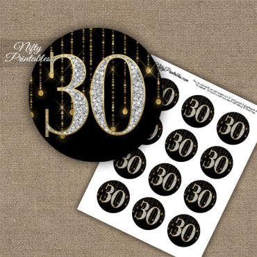 30th Birthday Anniversary Cupcake Toppers - Diamonds Black Gold