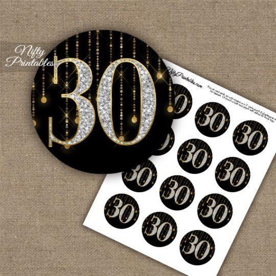 30th Birthday Anniversary Cupcake Toppers - Diamonds Black Gold